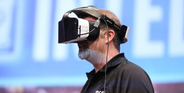Intel's Craig Raymond displays the Project Alloy virtual reality headset during the Day 1 keynote at the 2016 Intel Developer Forum in San Francisco on Tuesday, Aug. 16, 2016. Intel CEO Brian Krzanich's keynote presentation offered perspective on the unique role Intel will play as the boundaries of computing continue to expand. (Credit: Intel Corporation)